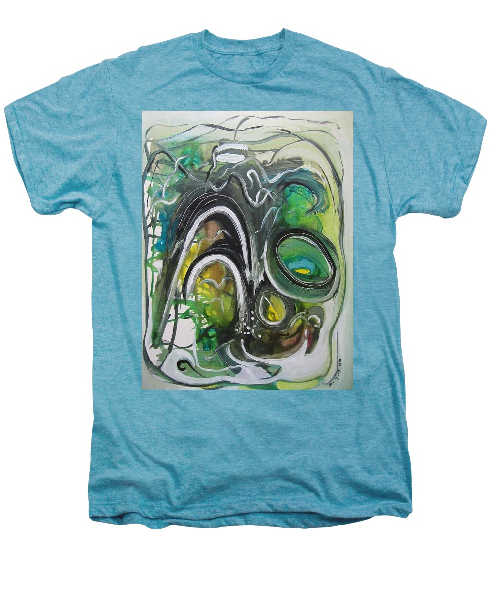 Abstract Paintings Men's Premium T-Shirt featuring the painting little impression on Alexander trail by Seon-Jeong Kim
