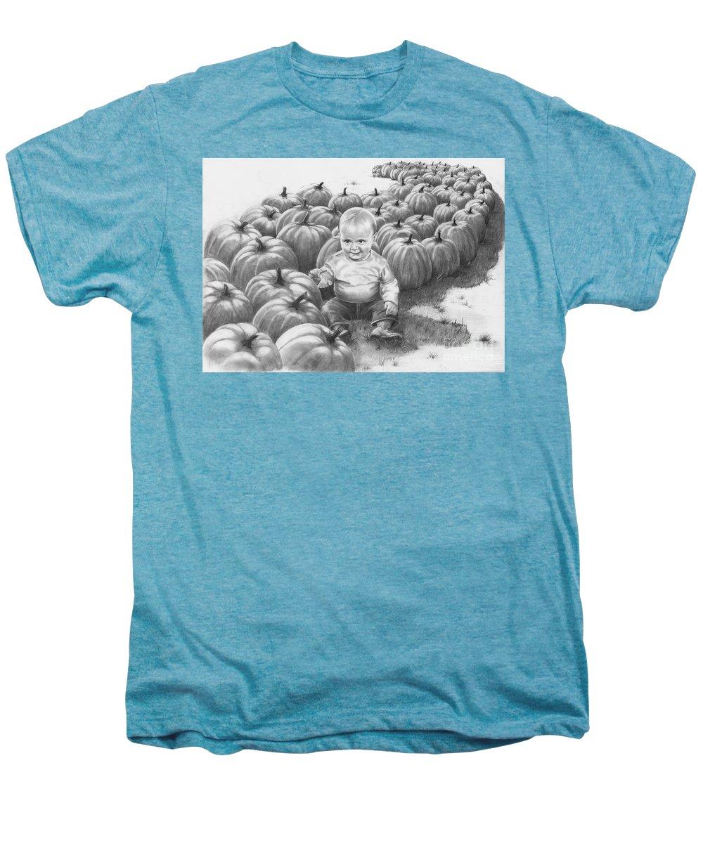 Charity Men's Premium T-Shirt featuring the drawing Little Pumpkin by Murphy Elliott