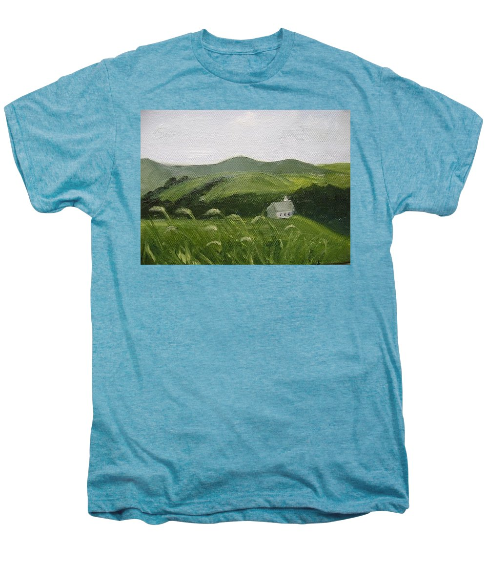 Landscape Men's Premium T-Shirt featuring the painting Little Schoolhouse On The Hill by Toni Berry