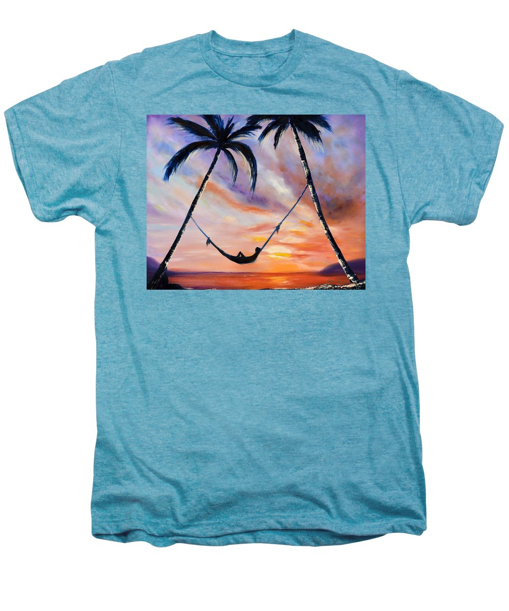 Sunset Men's Premium T-Shirt featuring the painting Living The Dream by Gina De Gorna