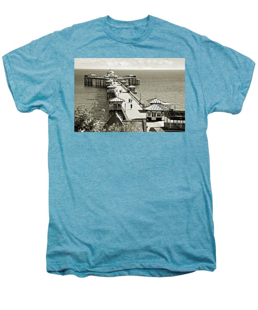 Pier Men's Premium T-Shirt featuring the photograph Llandudno Pier North Wales Uk by Mal Bray