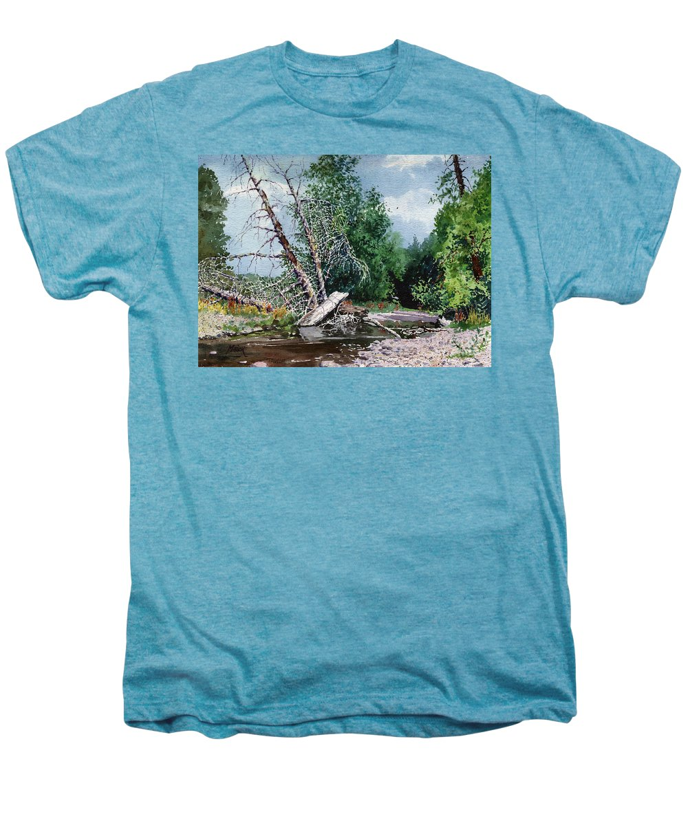Washington State Men's Premium T-Shirt featuring the painting Log Jam by Donald Maier