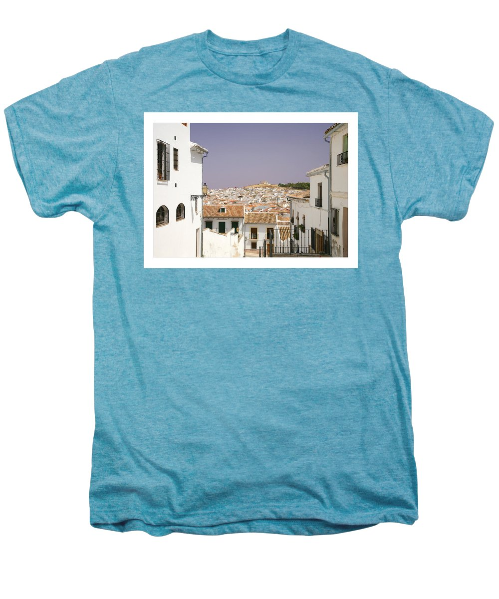 Antequera Men's Premium T-Shirt featuring the photograph Looking Down Over Antequera From Near The Church Of Santa Maria La Mayor by Mal Bray