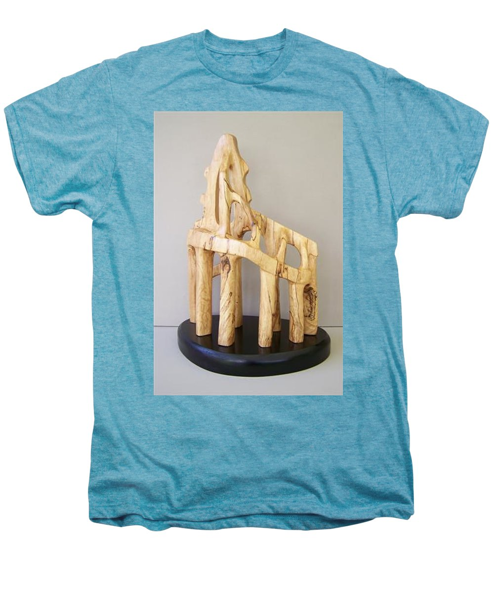 Wood-carving-sculpture-abstract- Men's Premium T-Shirt featuring the sculpture Lost Glory by Norbert Bauwens