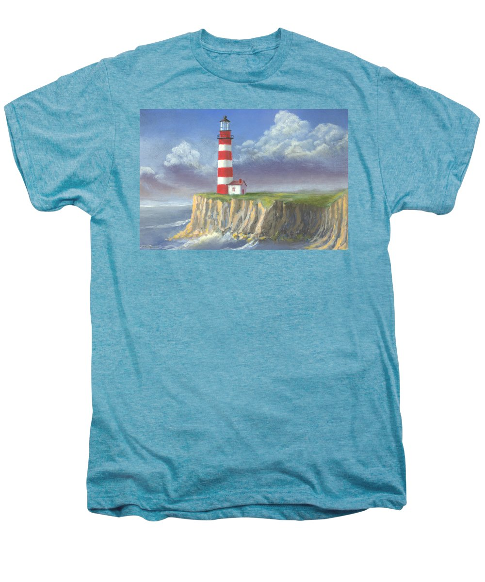 Light Men's Premium T-Shirt featuring the painting Lost Point Light by Jerry McElroy