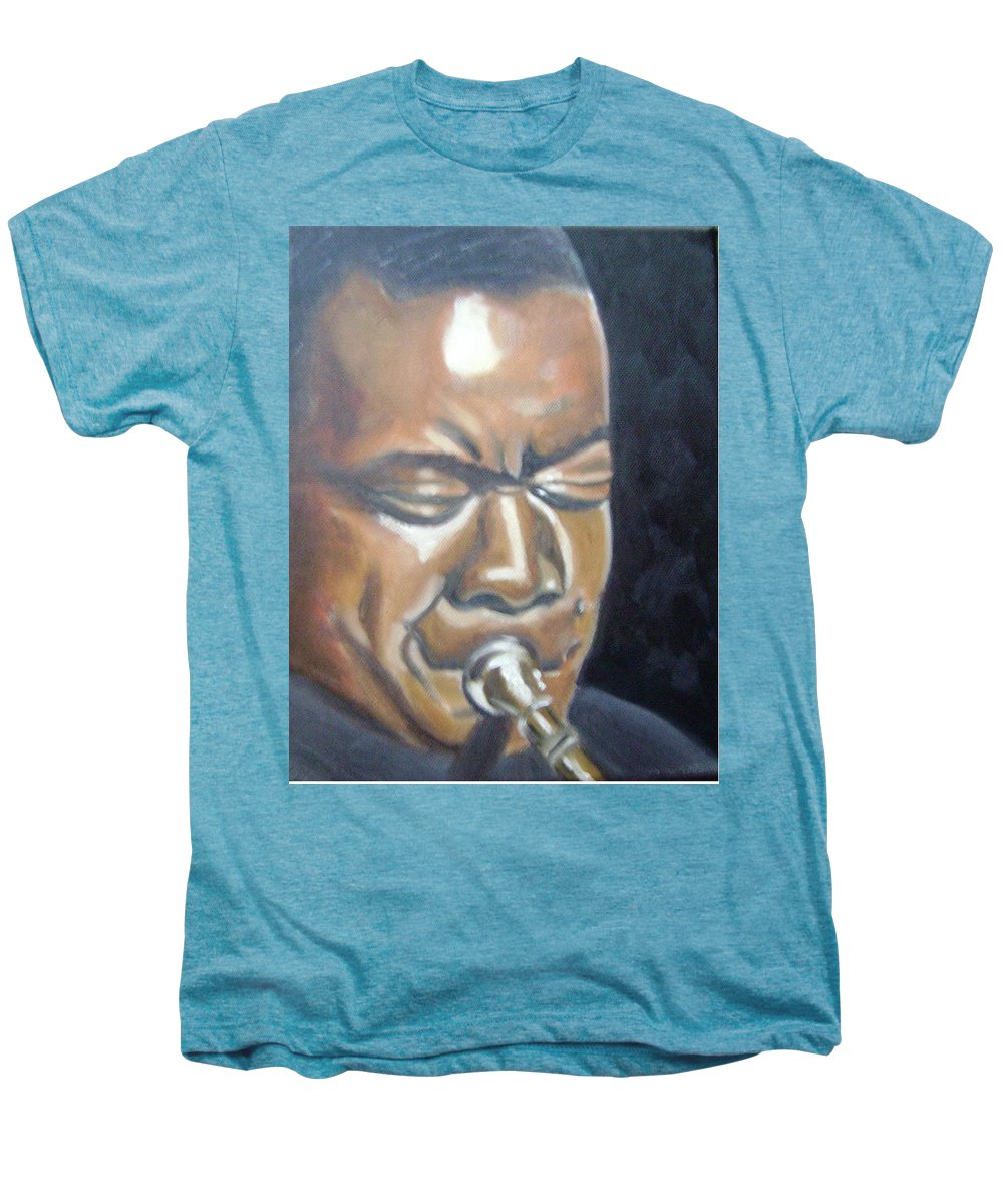Louis Armstrong Men's Premium T-Shirt featuring the painting Louis Armstrong by Toni Berry