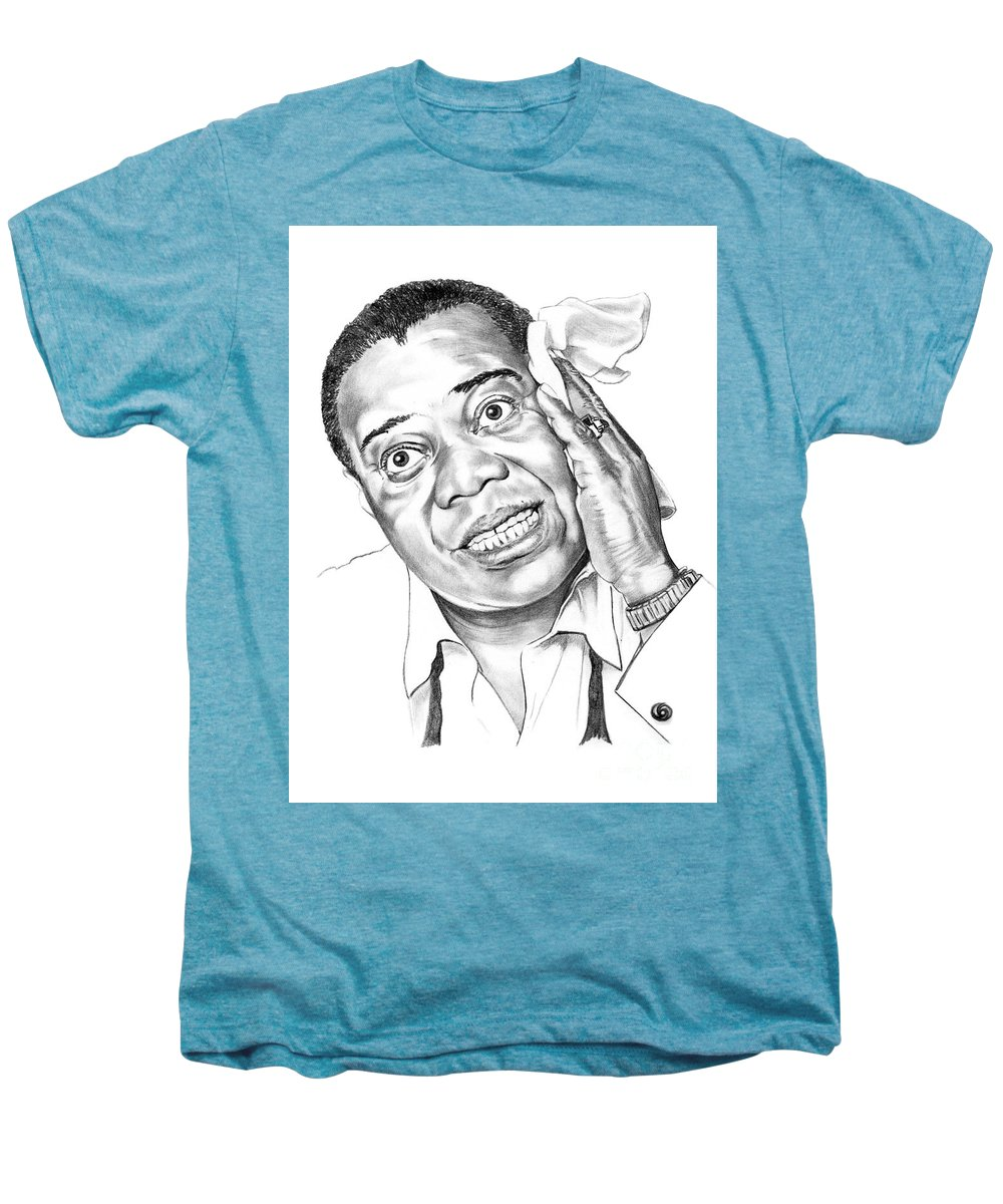 Music Men's Premium T-Shirt featuring the drawing Louis Satchmo Armstrong by Murphy Elliott
