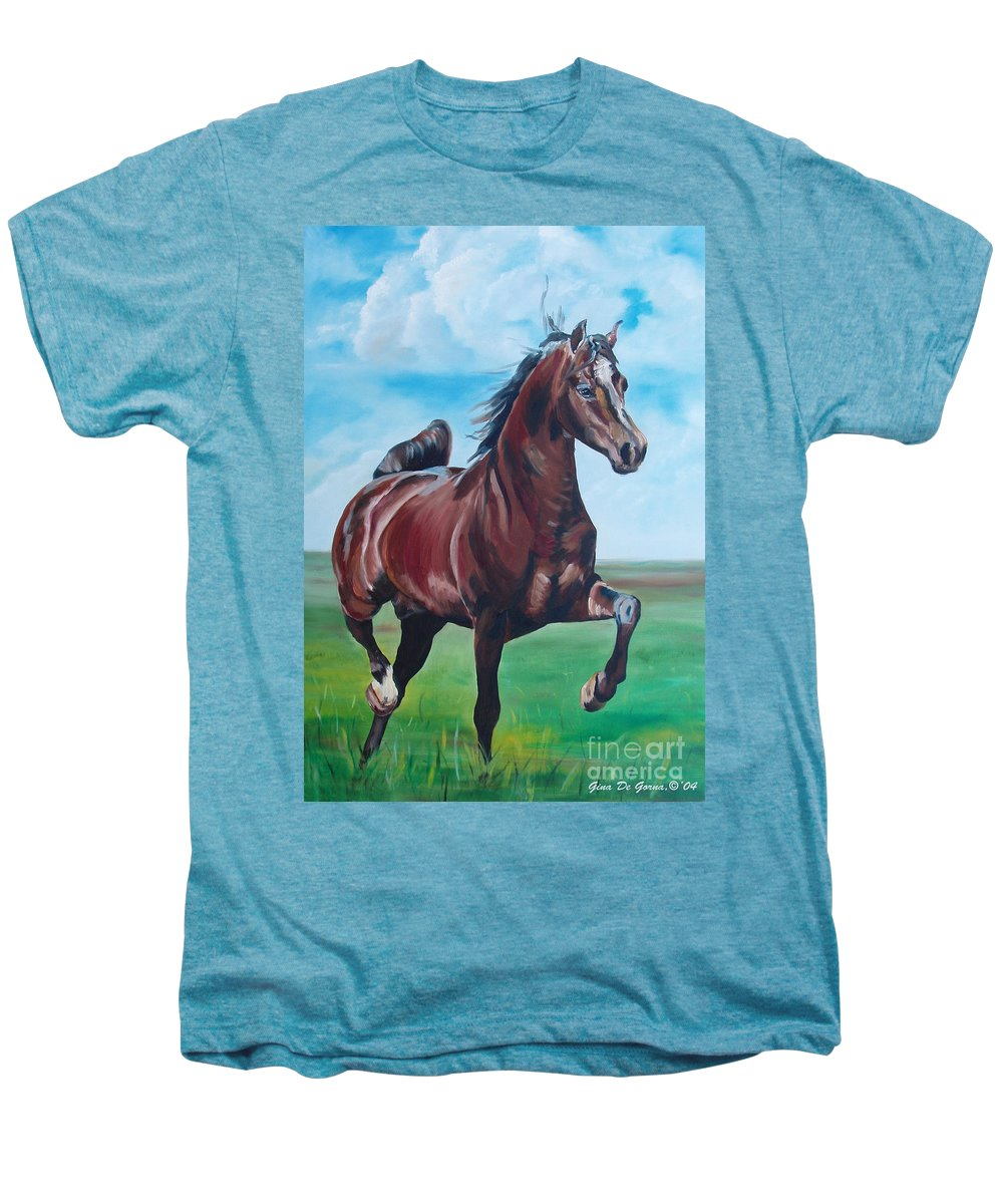 Horse Men's Premium T-Shirt featuring the painting Lovely by Gina De Gorna