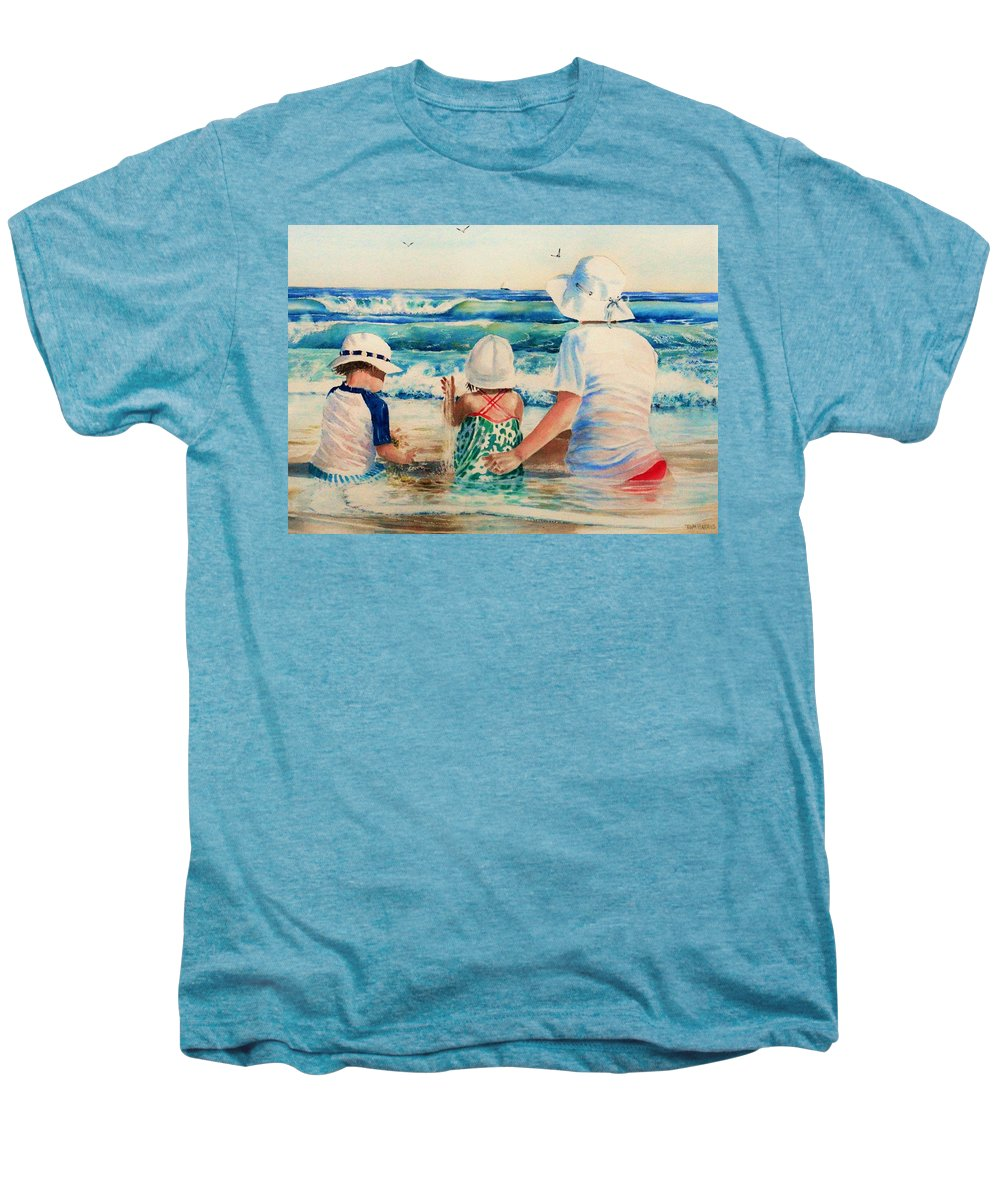Beach Men's Premium T-Shirt featuring the painting Low Tide by Tom Harris
