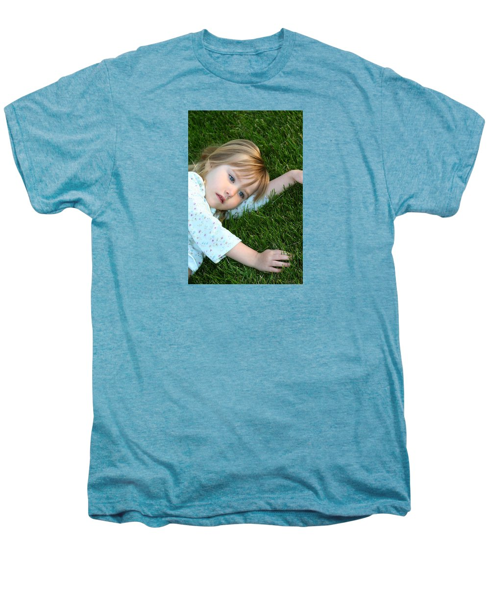 Girl Men's Premium T-Shirt featuring the photograph Lying In The Grass by Margie Wildblood