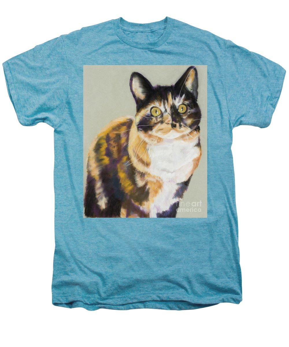 Calico Men's Premium T-Shirt featuring the painting Maggie Mae by Pat Saunders-White