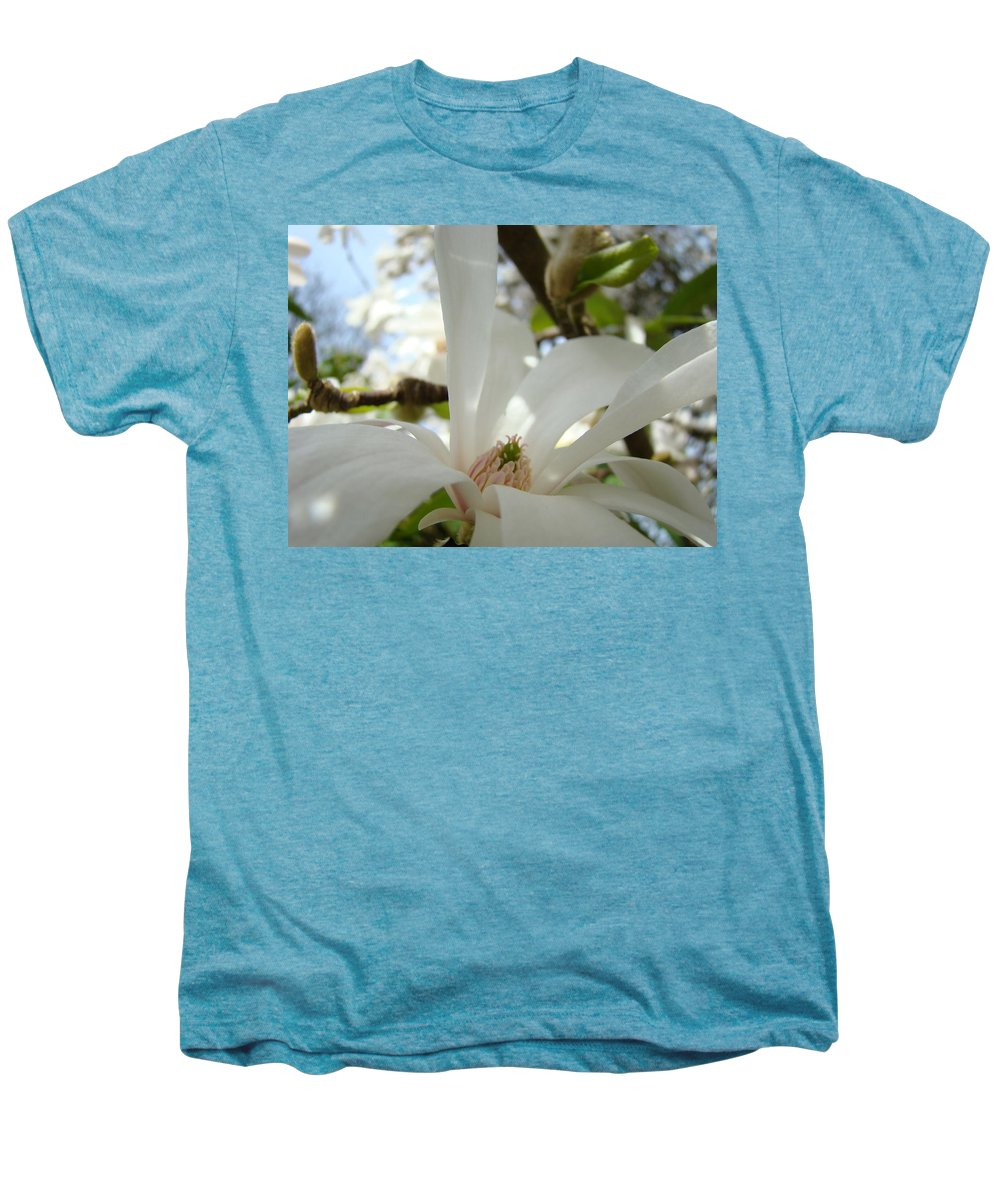 Magnolia Men's Premium T-Shirt featuring the photograph Magnolia Flowers White Magnolia Tree Flower Art Spring Baslee Troutman by Baslee Troutman