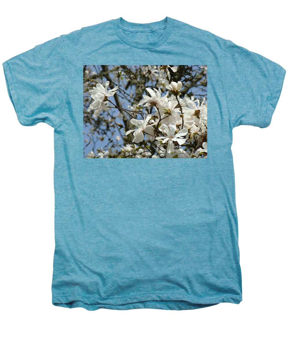 Magnolia Men's Premium T-Shirt featuring the photograph Magnolia Flowers White Magnolia Tree Flowers Art Prints by Baslee Troutman