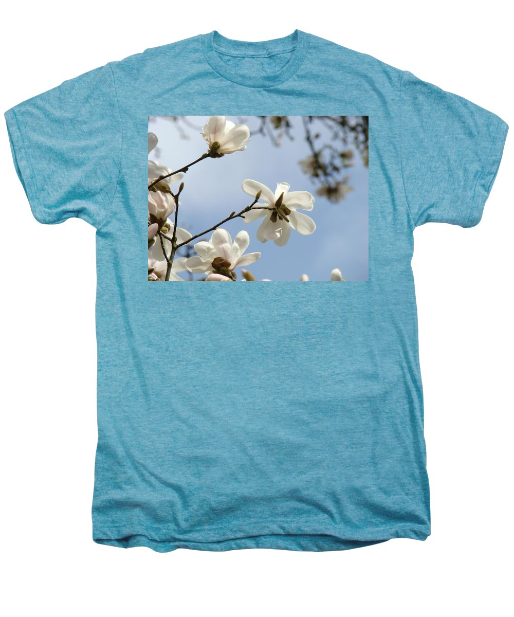 Magnolia Men's Premium T-Shirt featuring the photograph Magnolia Flowers White Magnolia Tree Spring Flowers Artwork Blue Sky by Baslee Troutman