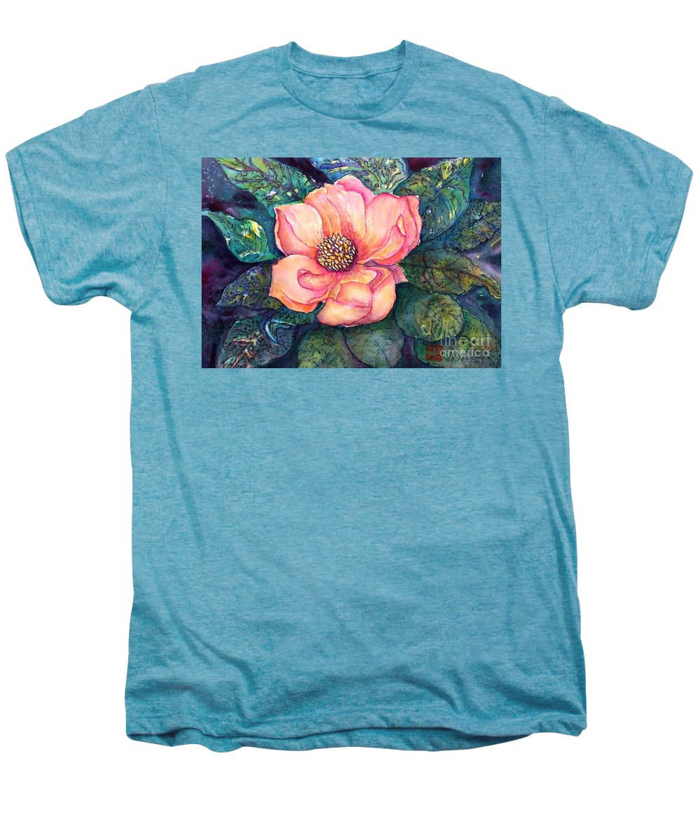 Flowers Men's Premium T-Shirt featuring the painting Magnolia In The Evening by Norma Boeckler