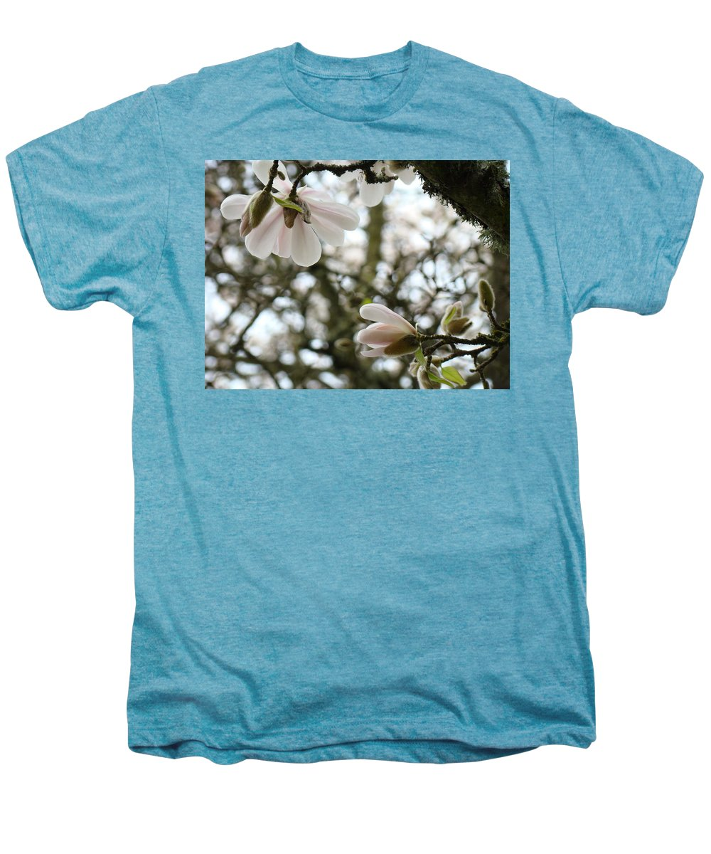 Magnolia Men's Premium T-Shirt featuring the photograph Magnolia Tree Flowers Pink White Magnolia Flowers Spring Artwork by Baslee Troutman