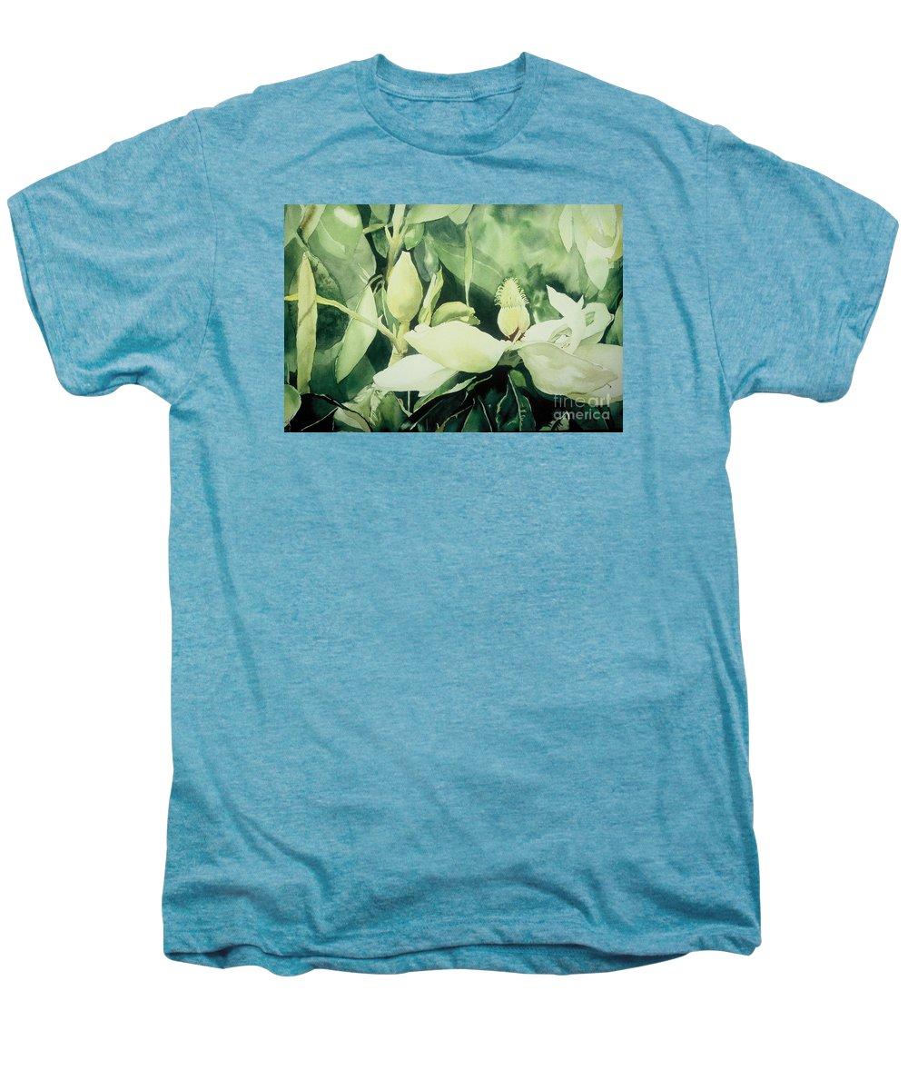 Magnolias Men's Premium T-Shirt featuring the painting Magnolium Opus by Elizabeth Carr