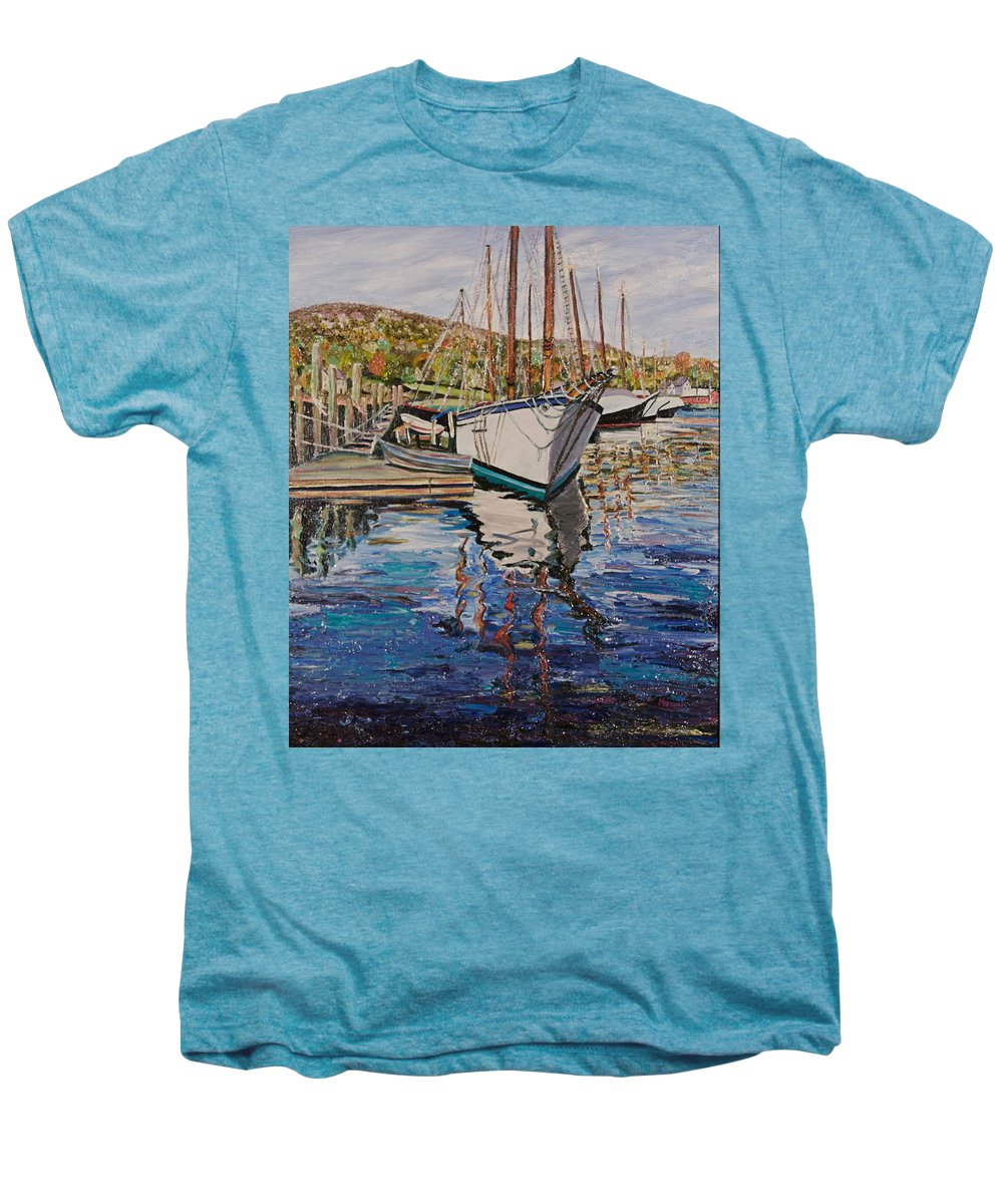 Maine Men's Premium T-Shirt featuring the painting Maine Coast Boat Reflections by Richard Nowak