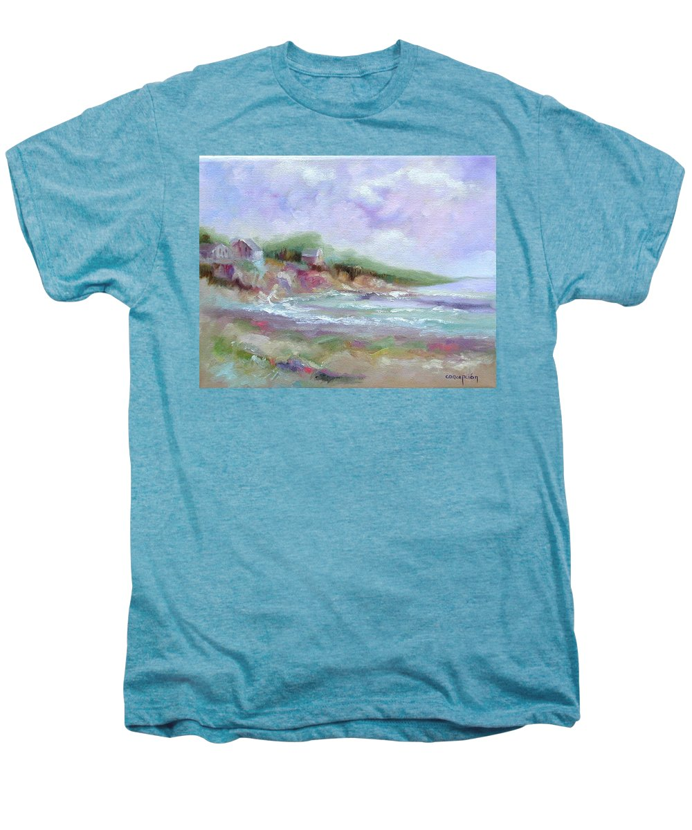 Maine Coastline Men's Premium T-Shirt featuring the painting Maine Coastline by Ginger Concepcion