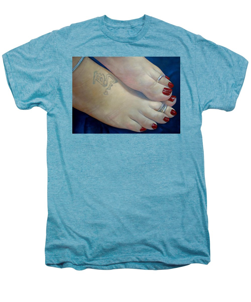 Toes Men's Premium T-Shirt featuring the painting Mandys Toes by Jerrold Carton