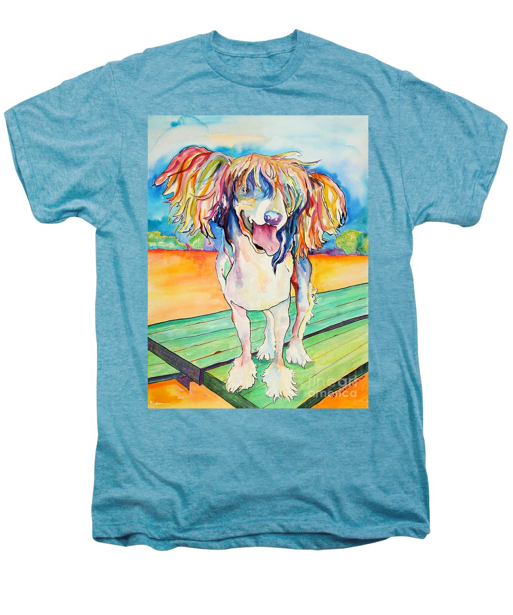 Chinese Crested Men's Premium T-Shirt featuring the painting Mango Salsa by Pat Saunders-White