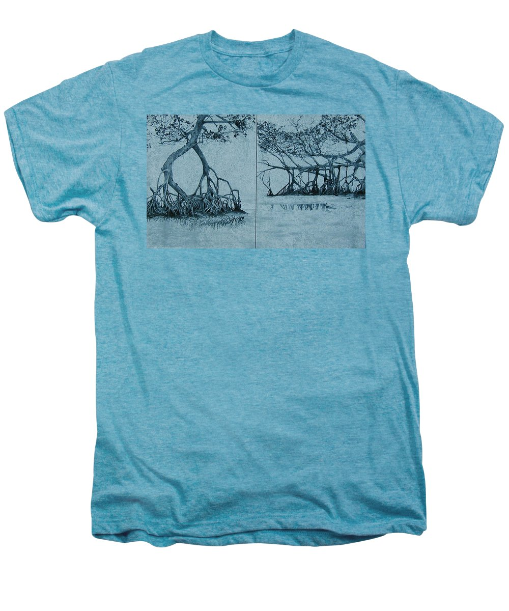 Blue Men's Premium T-Shirt featuring the painting Mangroves by Leah Tomaino