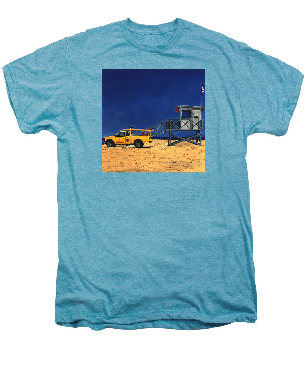 Modern Men's Premium T-Shirt featuring the painting Manhattan Beach Lifeguard Station Side by Lance Headlee