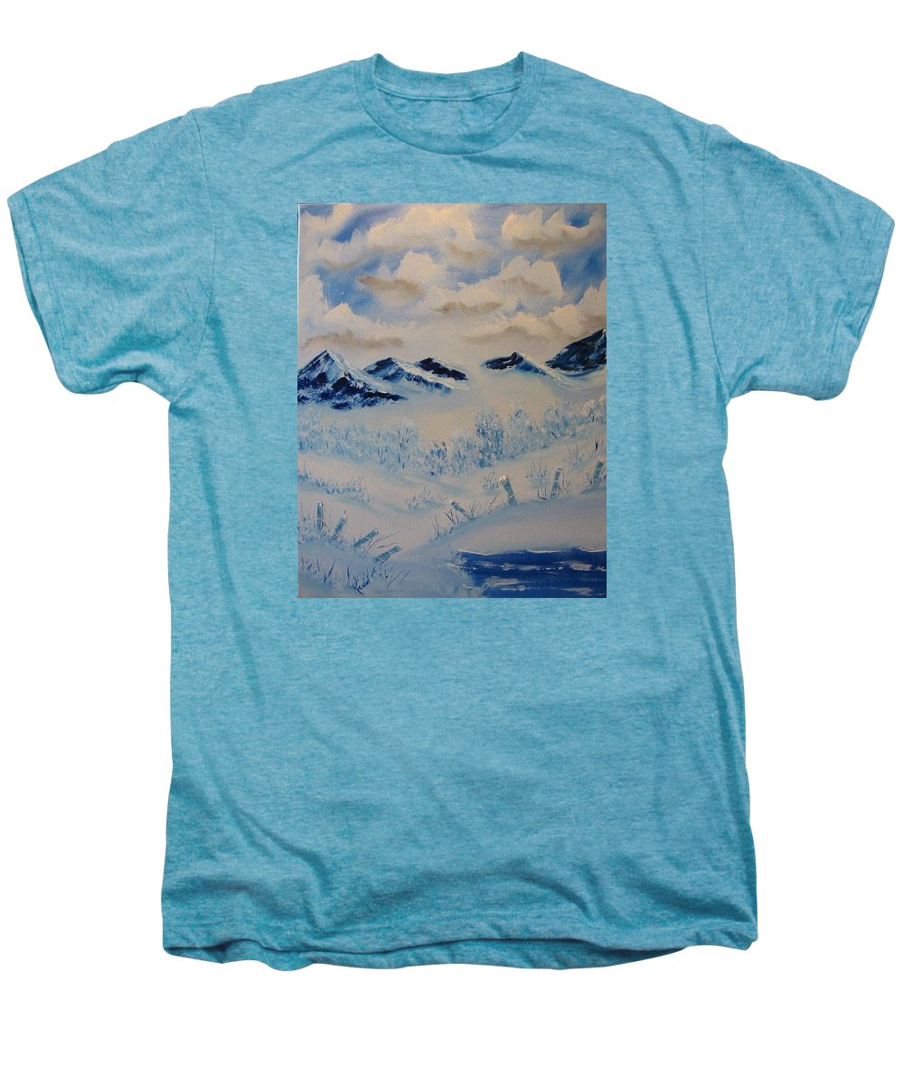 Blue Men's Premium T-Shirt featuring the painting Many Valleys by Laurie Kidd