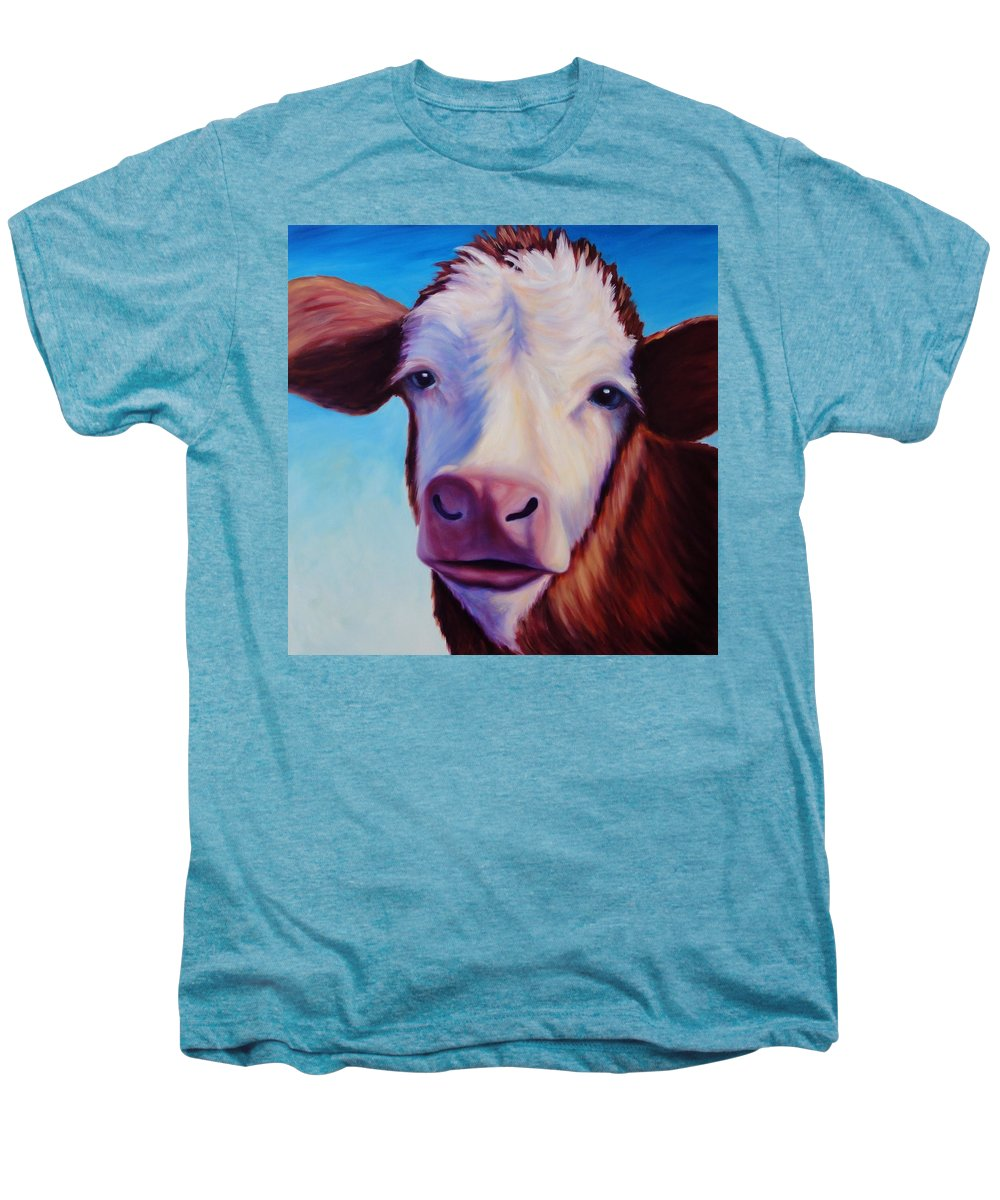 Cow Men's Premium T-Shirt featuring the painting Marie by Shannon Grissom