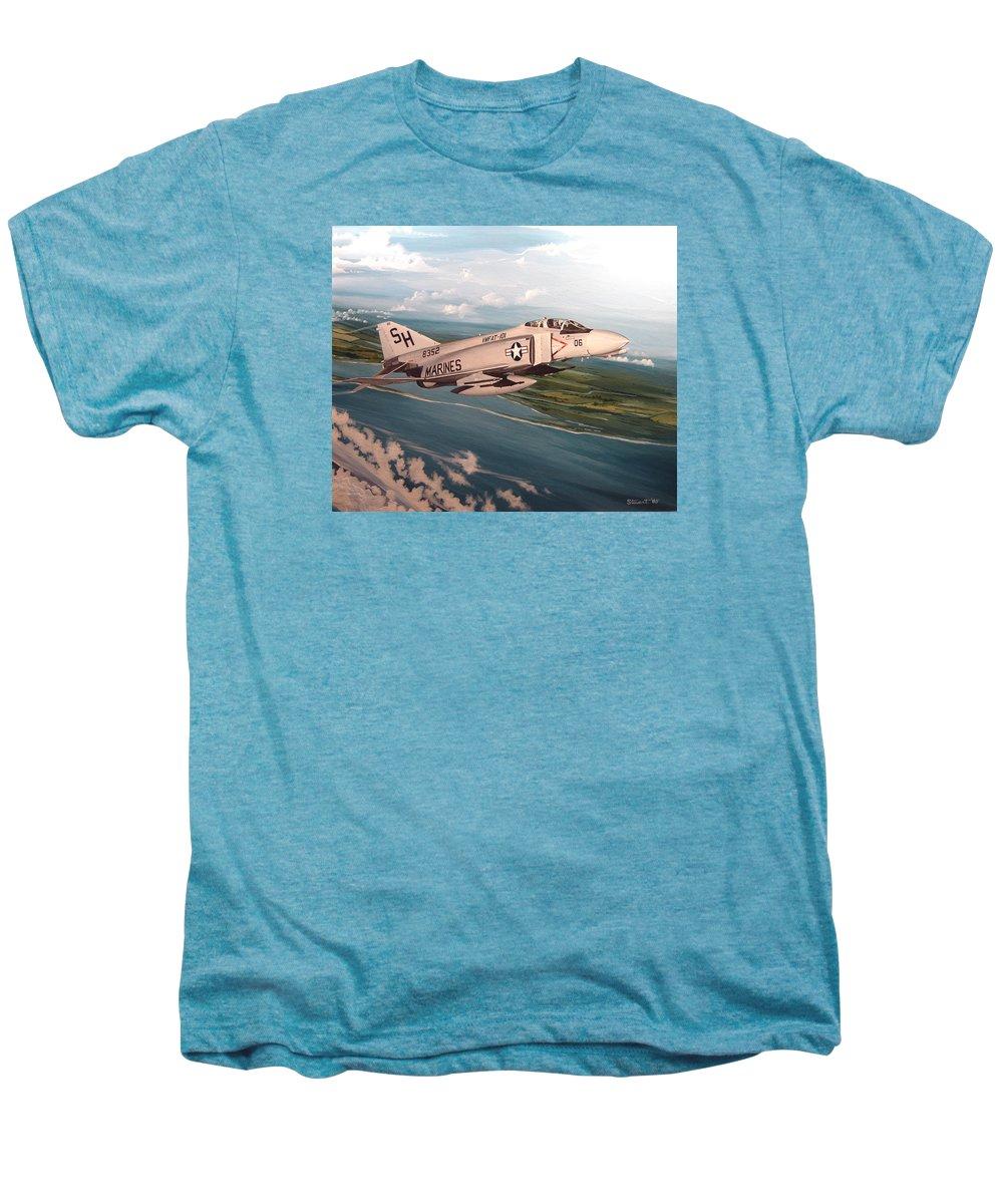 Aviation Men's Premium T-Shirt featuring the painting Marine Phantom by Marc Stewart