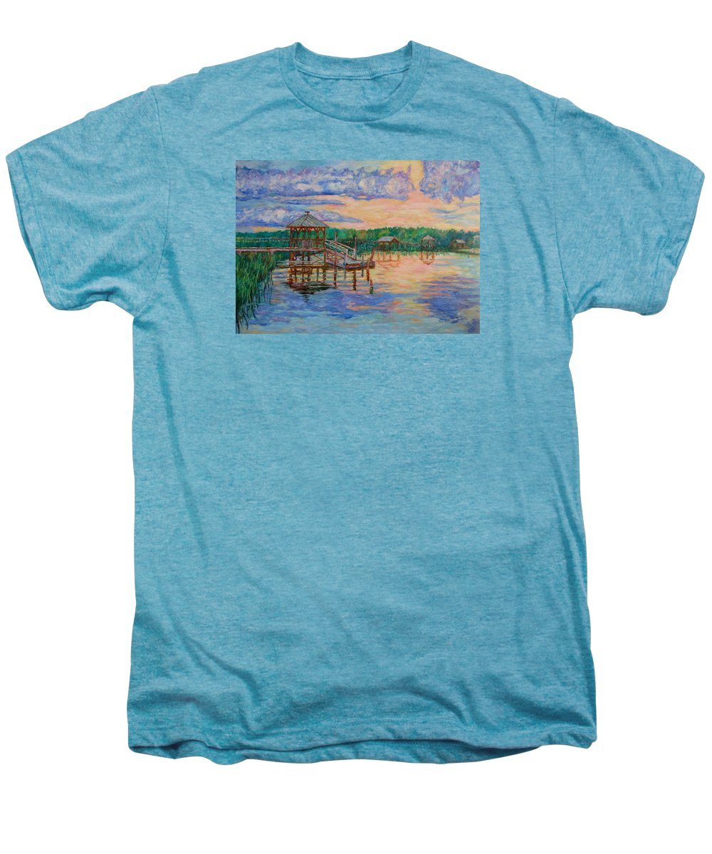 Landscape Men's Premium T-Shirt featuring the painting Marsh View At Pawleys Island by Kendall Kessler
