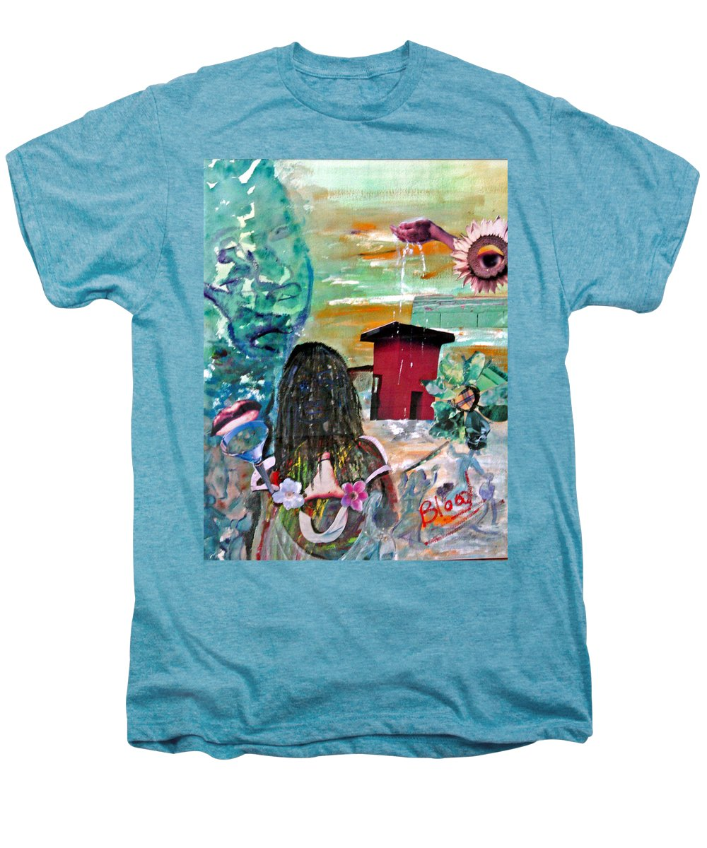 Water Men's Premium T-Shirt featuring the painting Masks Of Life by Peggy Blood