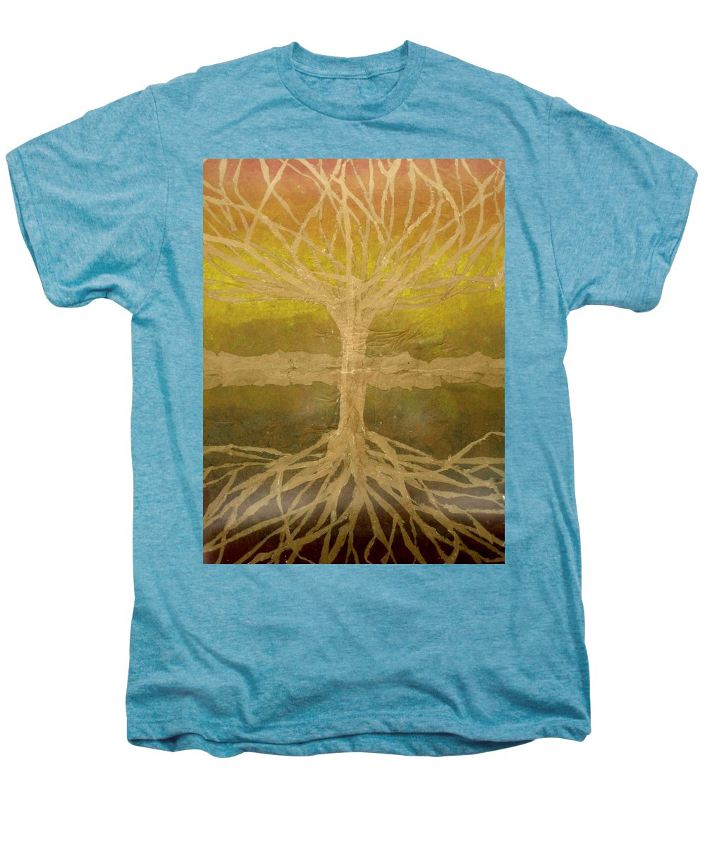 Abstract Men's Premium T-Shirt featuring the painting Meditation by Leah Tomaino