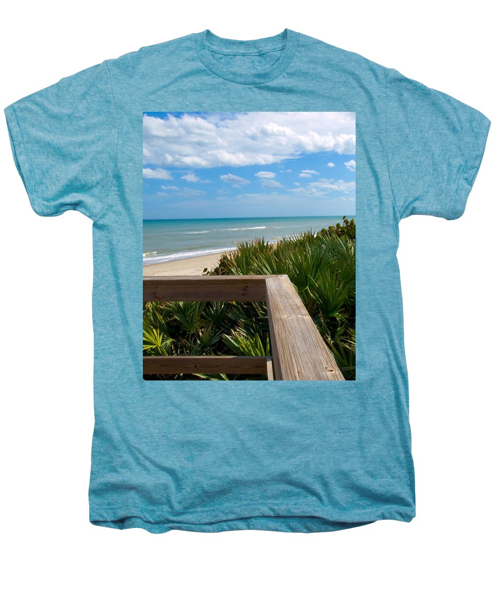 Beach; February; Florida; Warm; Warmth; Temperature; Degrees; Weather; Sun; Melbourne; Sand; Shore; Men's Premium T-Shirt featuring the photograph Melbourne Beach In Florida by Allan Hughes