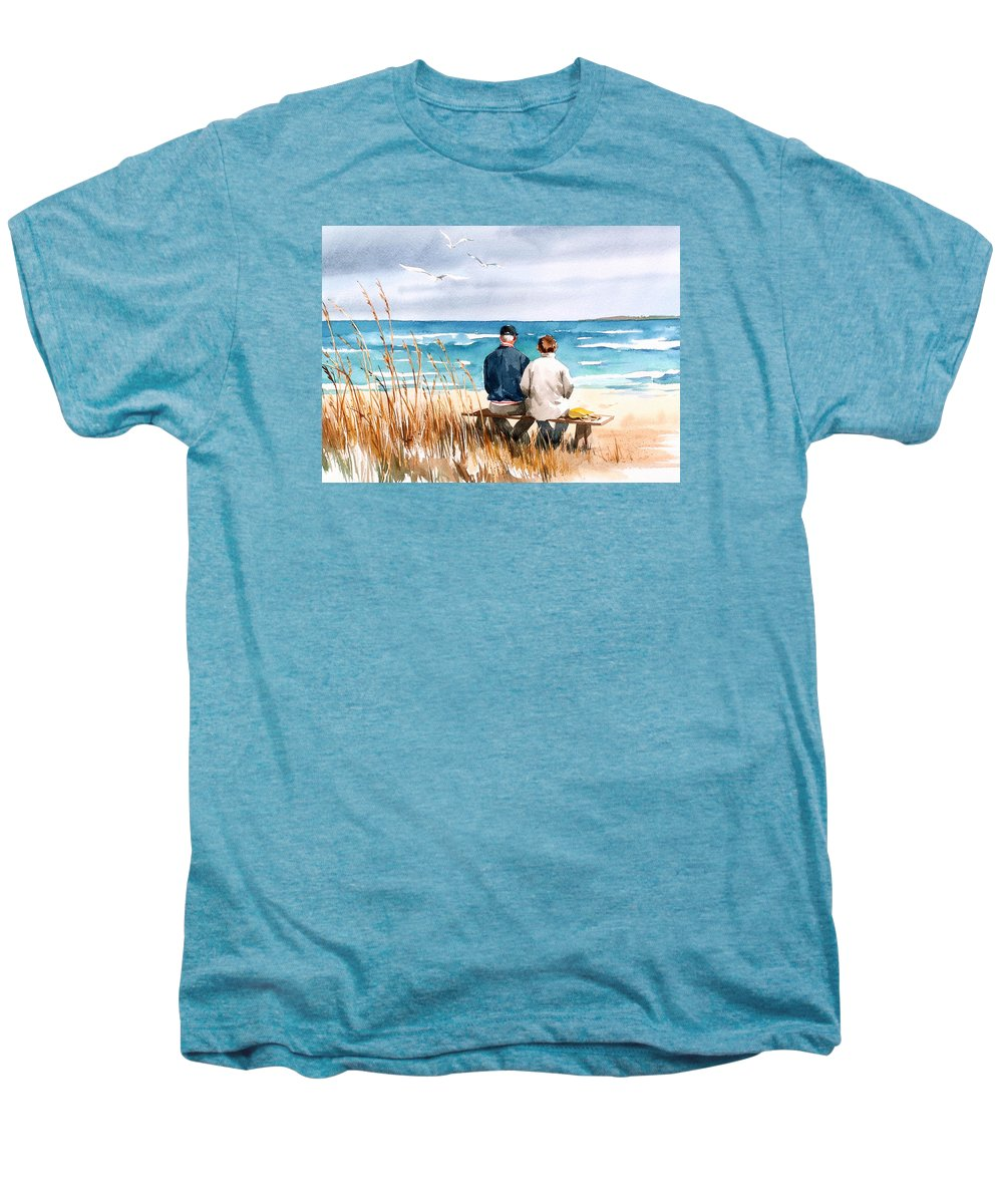 Couple On Beach Men's Premium T-Shirt featuring the painting Memories by Art Scholz