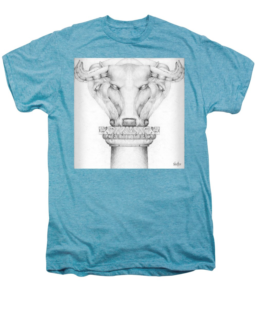 Bull Men's Premium T-Shirt featuring the drawing Mesopotamian Capital by Curtiss Shaffer