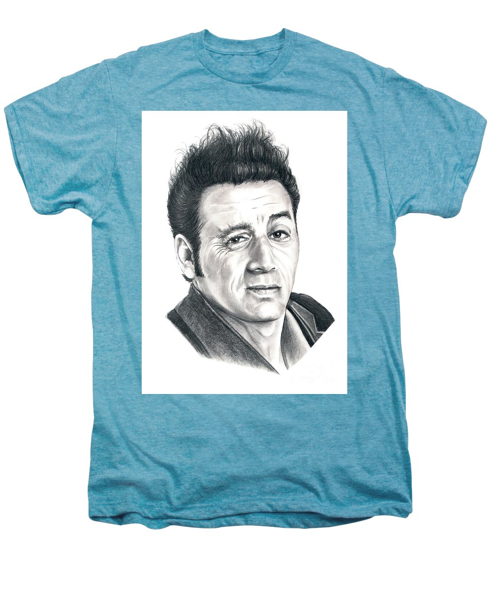 Pencil Men's Premium T-Shirt featuring the drawing Michael Richards Cosmo Kramer by Murphy Elliott