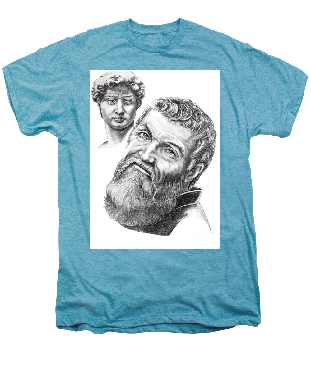 Michelangelo Men's Premium T-Shirt featuring the drawing Michelangelo And David by Murphy Elliott