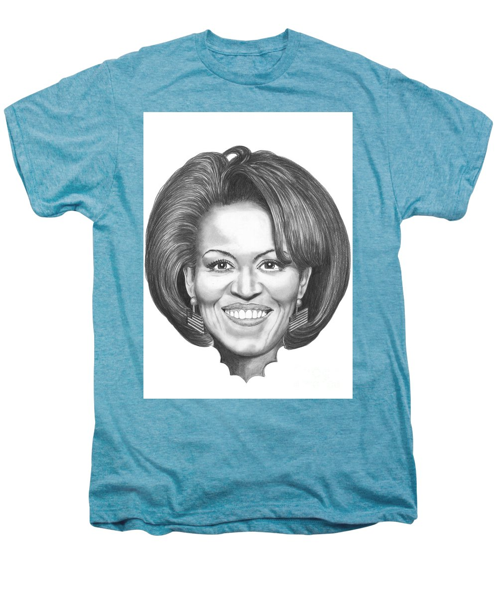 Drawing Men's Premium T-Shirt featuring the drawing Michelle Obama by Murphy Elliott