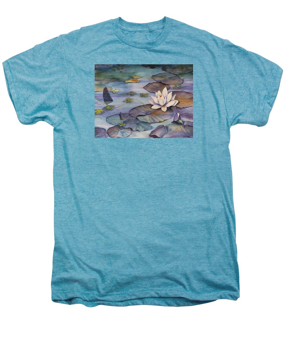 Lily Men's Premium T-Shirt featuring the painting Midnight Lily by Jun Jamosmos