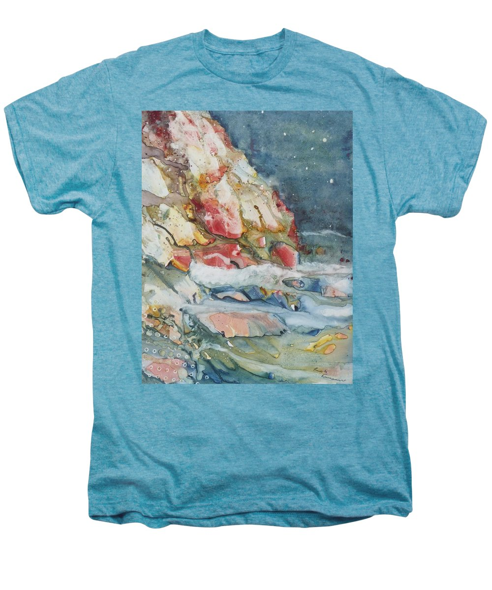 Abstract Men's Premium T-Shirt featuring the painting Midnight Surf by Ruth Kamenev