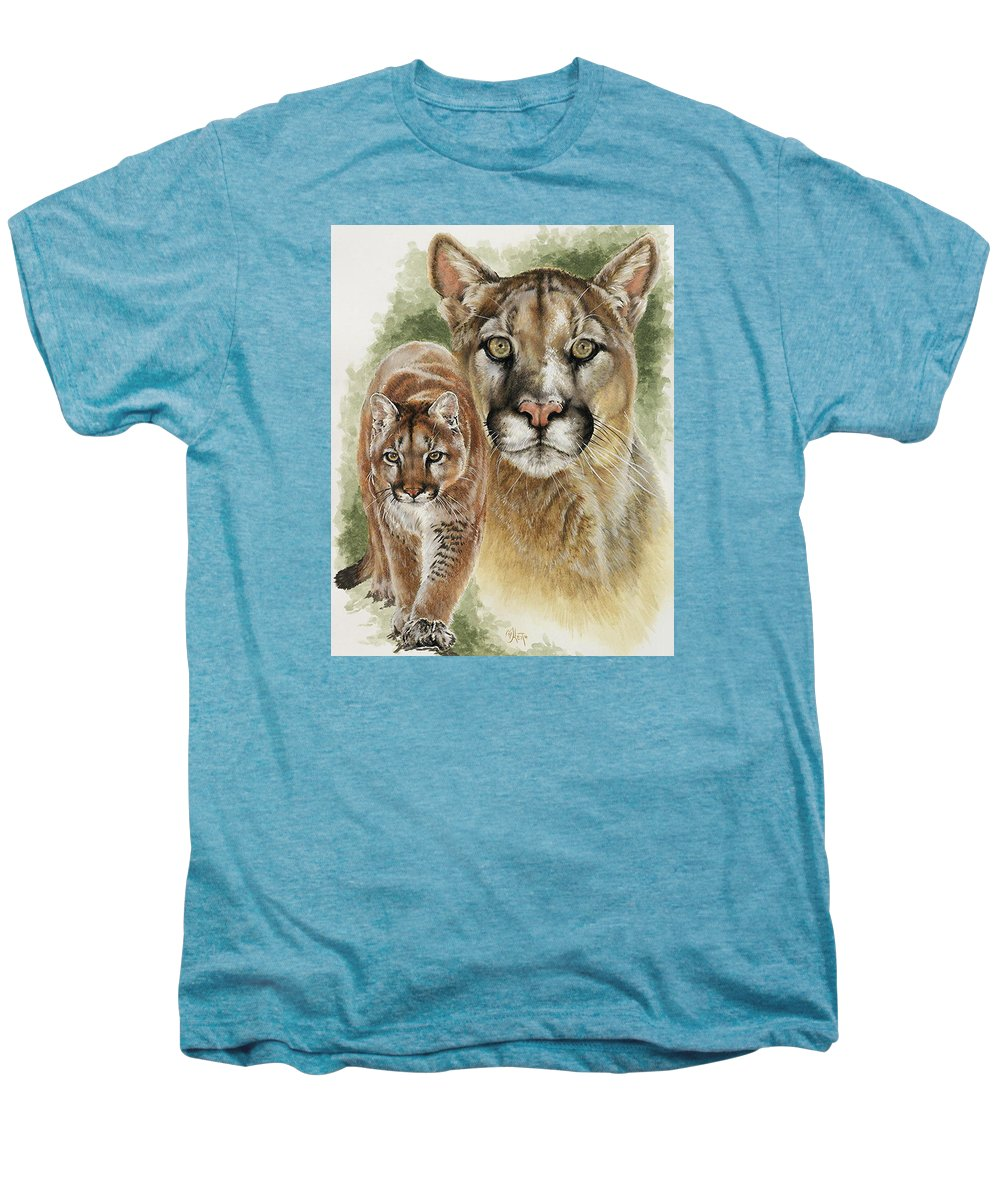 Cougar Men's Premium T-Shirt featuring the mixed media Mighty by Barbara Keith