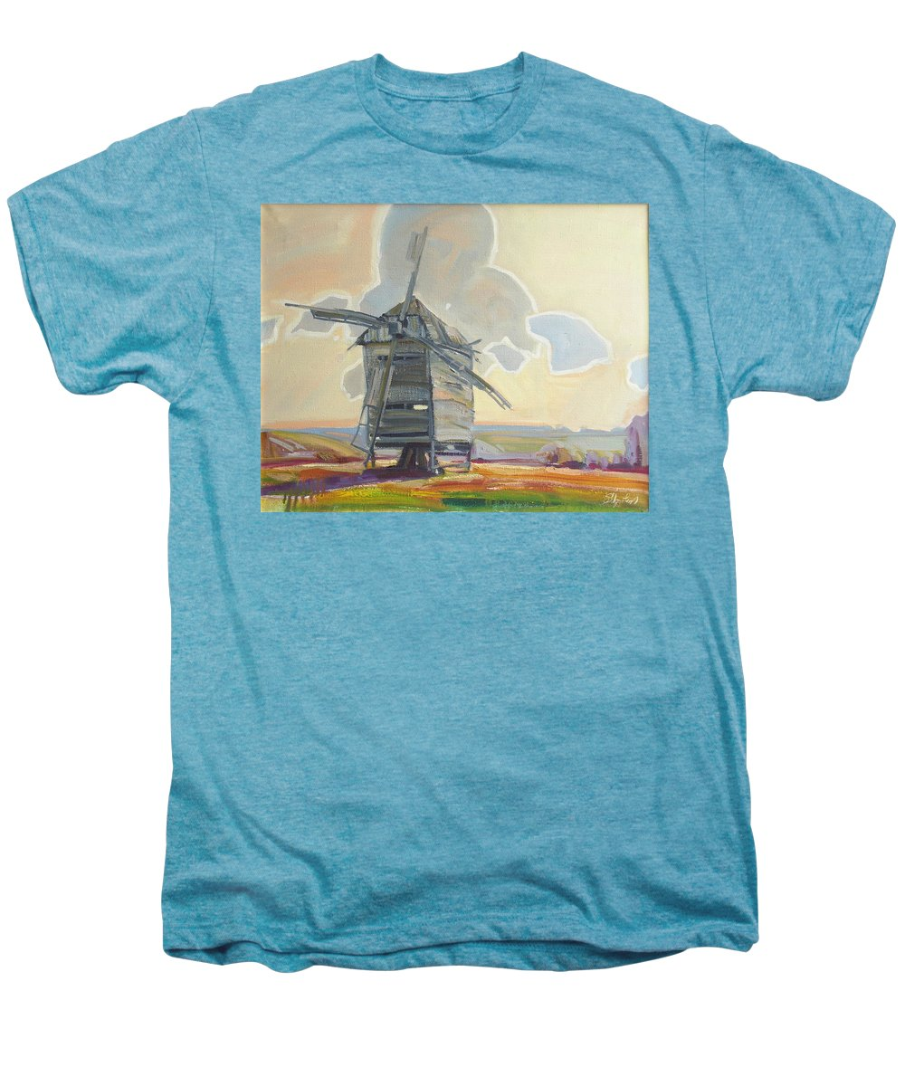 Oil Men's Premium T-Shirt featuring the painting Mill by Sergey Ignatenko