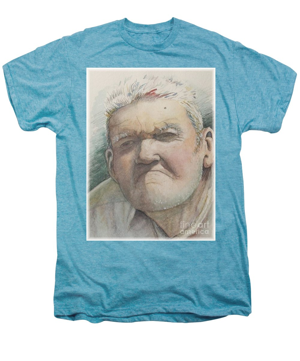 Portrait Men's Premium T-Shirt featuring the painting Minnesota Farmer by Nadine Rippelmeyer