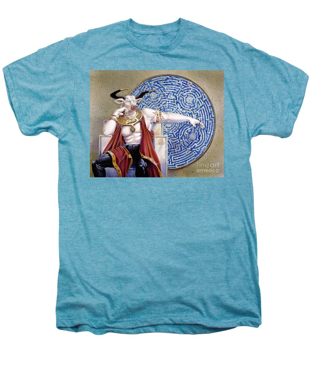 Anthropomorphic Men's Premium T-Shirt featuring the painting Minotaur With Mosaic by Melissa A Benson