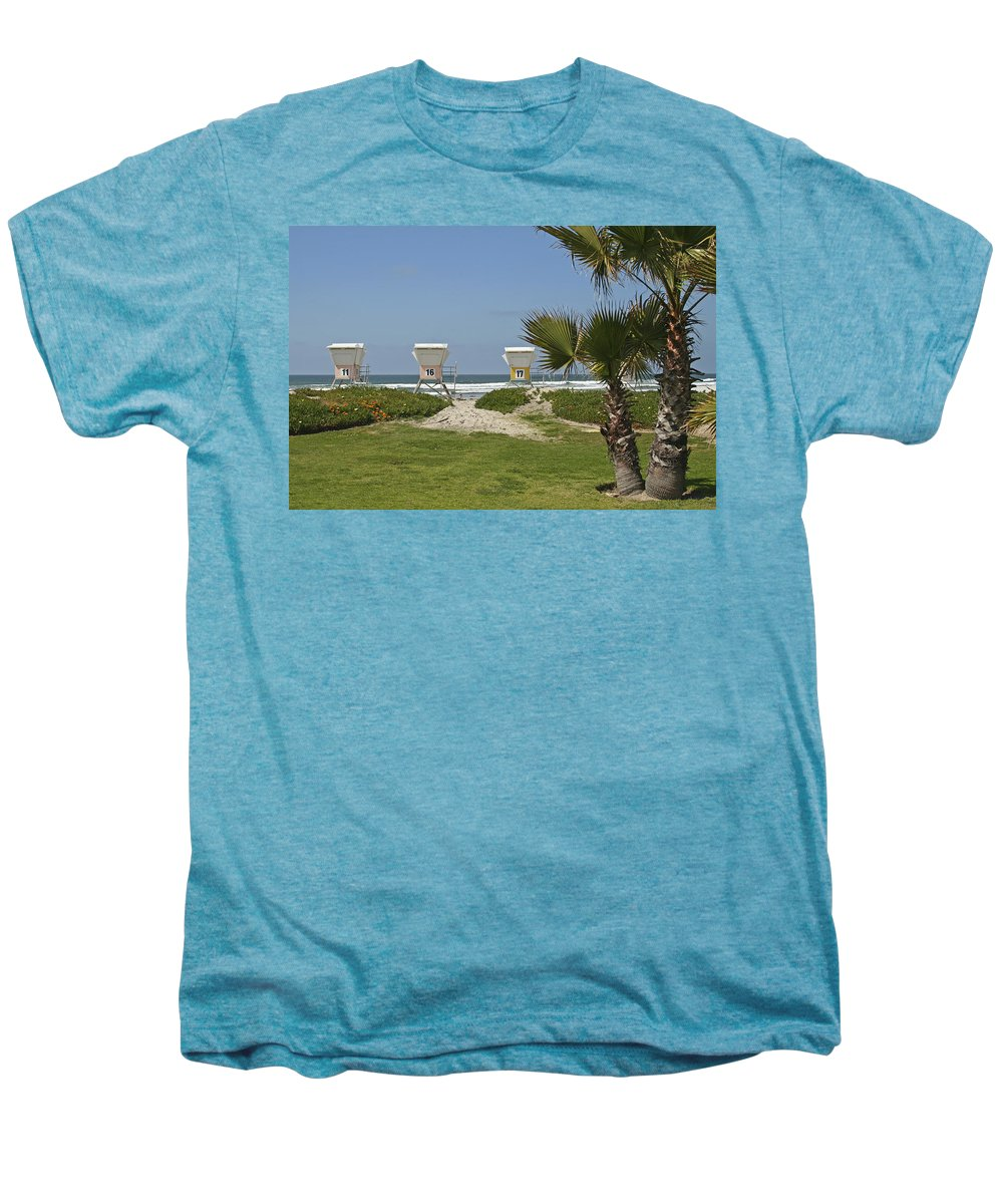 Beach Men's Premium T-Shirt featuring the photograph Mission Beach Shelters by Margie Wildblood