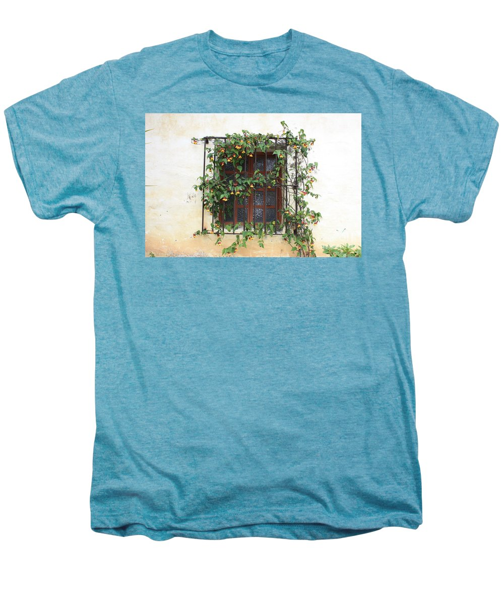 Window Men's Premium T-Shirt featuring the photograph Mission Window With Yellow Flowers by Carol Groenen