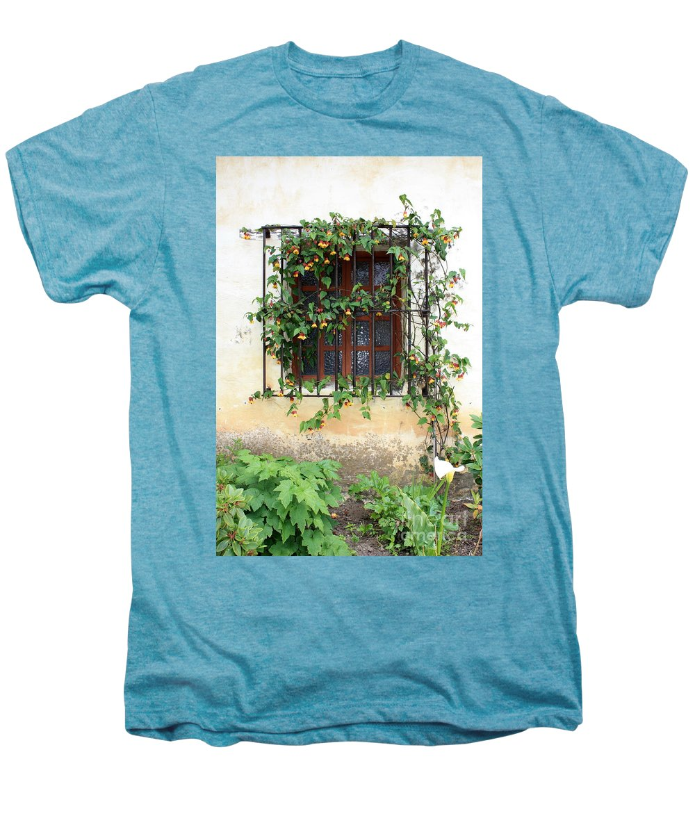 Mission Window Men's Premium T-Shirt featuring the photograph Mission Window With Yellow Flowers Vertical by Carol Groenen