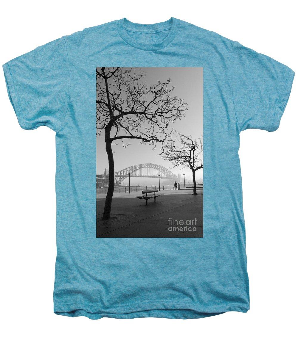 Sydney Harbour Bridge Mist Australia Men's Premium T-Shirt featuring the photograph Misty Sydney Morning by Sheila Smart Fine Art Photography