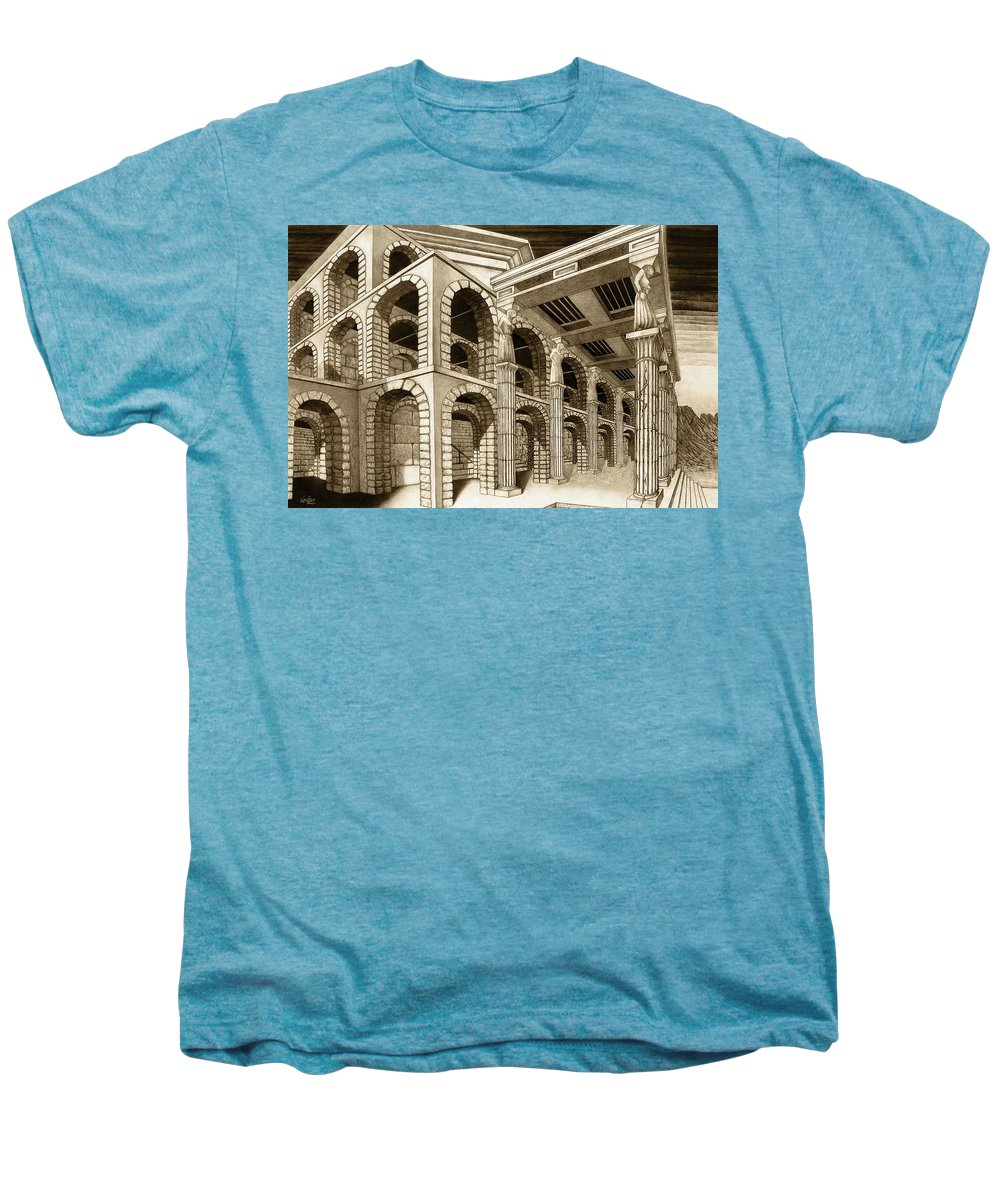 Mithlond Men's Premium T-Shirt featuring the drawing Mithlond Gray Havens by Curtiss Shaffer